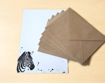 Stationery Letter Writing Set with kraft envelopes - Zebra