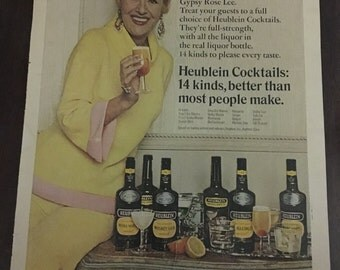 Heublein Whiskey Sour Vintage Ad with Gypsy Rose Lee 1967