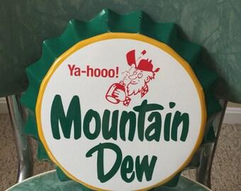 "Mountain Dew~~Bottle Cap Tin Sign~~11"""
