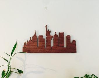 New York, Cityscape, Walnut, NYC, Wall mount art, New York City, New York Skyline, New York City Wall Art, Wood New York City Skyline