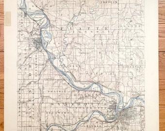 Antique Kansas City Missouri Kansas 1894 Us Geological Survey Topographic Map Leavenworth