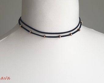 Choker necklace vintage black gold