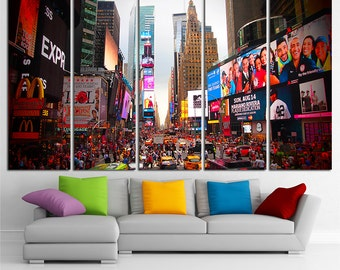 Times Square Large Canvas Print Wall Art Times Square Wall Art New York Canvas Art New York Wall Art Multi Panel Canvas Print USA Wall Art