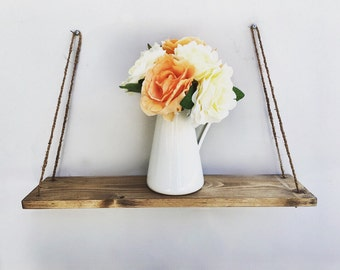 Hanging Shelf Rope, Rustic Wood Shelf, Floating Shelf
