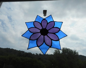 Beautiful Large Stained Glass Flower Suncatcher -Purple and Blue