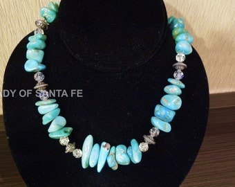 Kingman Turquoise Sterling and Crystal Necklace
