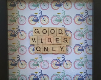 Good Vibes Only   Personalized Scrabble Tile Wall Art Framed Quotes Home Dorm Decor