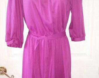 vintage 60's Georgee Originals Purple 3/4 Sleeve Knit Dress sz 14