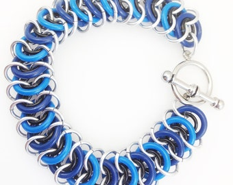 Aluminum & Rubber Vertebrae Weave Chainmaille Anklet - Blues and Black