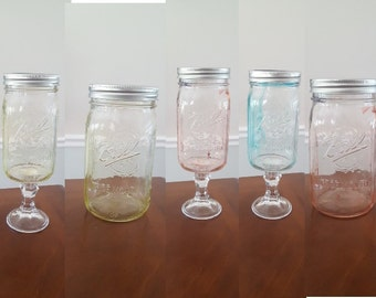 Setof3 Standard, Tall or Hanging Mason Jar Colored Tinted Centerpiece, Rustic Home Decor, Wedding, Baby, Bridal Shower, Party Centerpieces