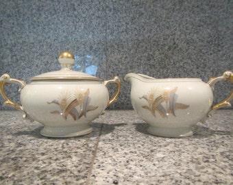 "Harmony House ""Prince Edward"" China - Creamer and Lidded Sugar Bowl"