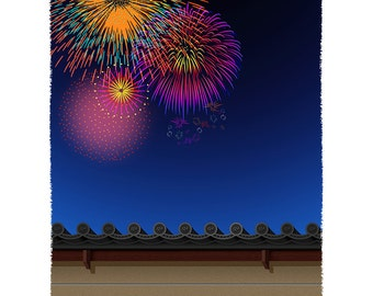 JAPAN, Fireworks and Earthen wall
