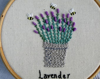 Original Hand Embroidery Lavender & Bees 4 Inch Hoop Hoopart Wall Art