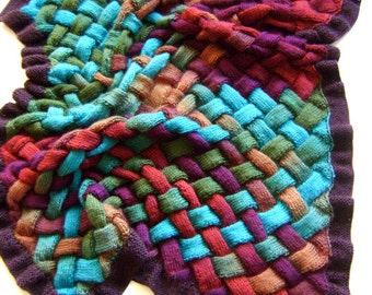 Luxury Item - Hand Knit Autumns Bounty Entrelac Throw Made to Order - FREE DOMESTIC SHIPPING