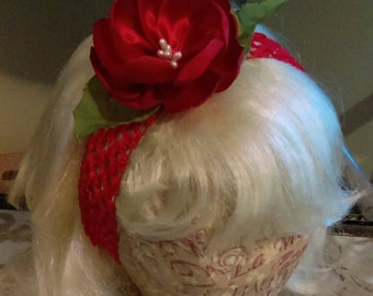 Red Satin Flower Headband