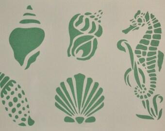 SeaShells SeaHorse Ocean stencil Template Scrapbooking