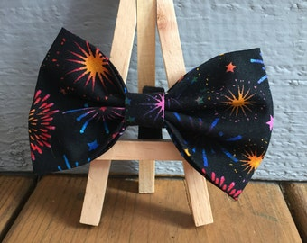 LAST DAY to order is June 19th  for guaranteed delivery*** Fireworks bow tie, dog bow tie