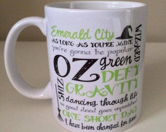 Wicked musical fan 11oz mug /birthday gift / wizard of oz / gift for her / fab mug / wicked