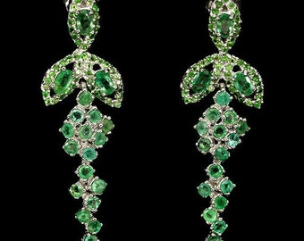 Ravishing! Top green EMERALD, tsavorite garnet SILVER EARRINGS