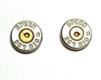 Bullet Jewelry- 357 Nickel Bullet Casing Ear Studs