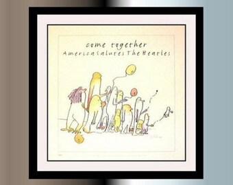 The Beatles Tribute Lithographie édition limitée encadré  ( Dessins tiré du livre d J Lennon  Is Own Right 1964 )