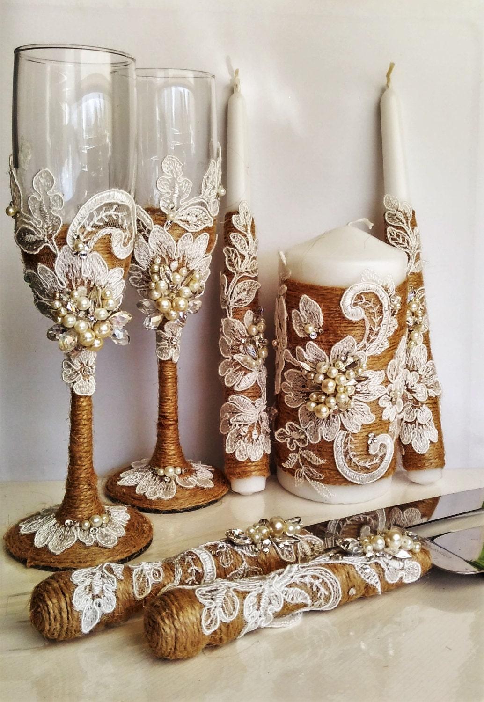 personalized wedding glasses and cake server set unity candle. Black Bedroom Furniture Sets. Home Design Ideas