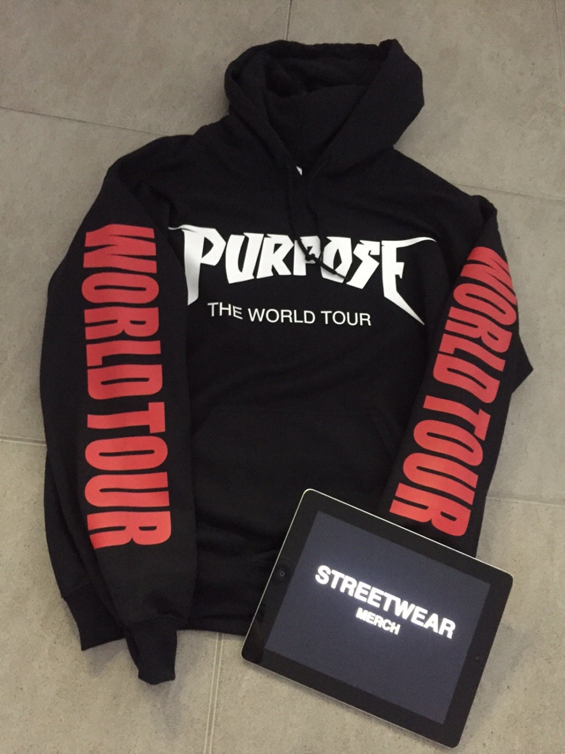 justin bieber purpose tour hoodie. Black Bedroom Furniture Sets. Home Design Ideas
