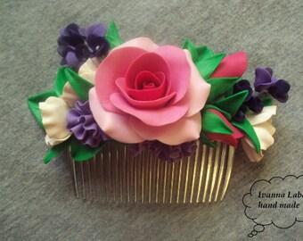 Comb, bride comb, summer accessory, comb flower