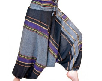 Harem pants unisex, cotton, gold threads, black violet