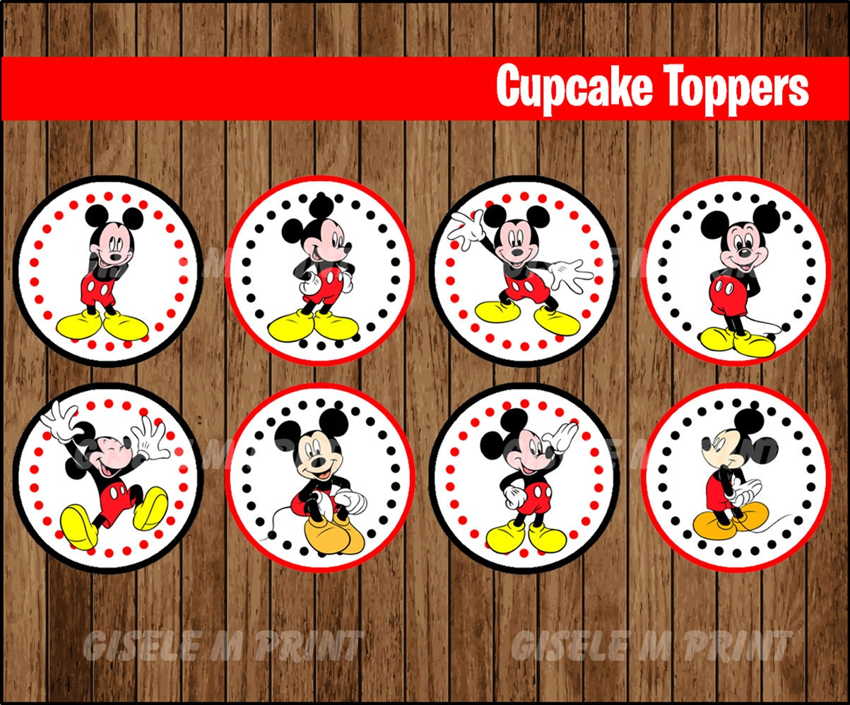 Mickey Mouse cupcakes toppers Printable Mickey Mouse toppers Mickey Mouse Cupcake Toppers Printable