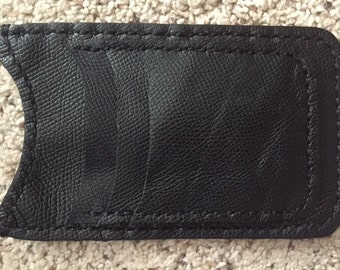 Handmade Black Leather Cell Phone Wallet