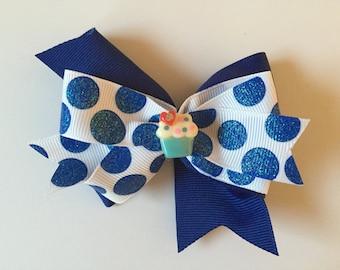 Blue Polka Dot Cupcake Hair Bow