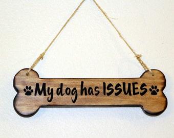 "Rustic handmade wood dog bone wall hanging 10"" x 4"""