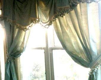 Medium Blue Silk Shantung Lined Window Treatment with two panels of lined pinch pleat drapes
