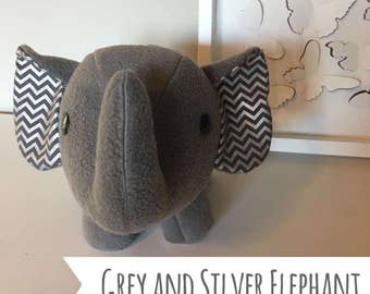 Grey and silver elephant