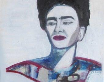 oil painting, Frida Kahlo , 2015, 40x40cm