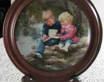 Vintage Collectible Plate Pemberton and Oakes, Forests and Fairytales By Donald Zolan's Joy of Reading Collection Van Hygan and Smythe Frame