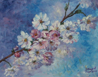 Flowers oil painting Floral wall art Pastel home decor Fine art painting Romantic Cherry tree Sakura blossom Spring Gift for women mother