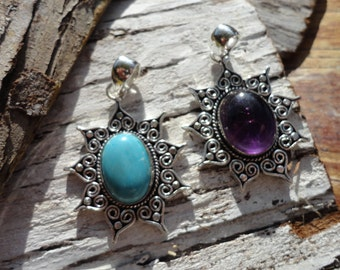 "Pendant ""collection ancient Sun"" larimar and Amethyst (exhausted larimar)"