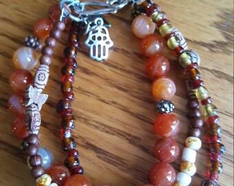carnelian  three strand bead bracelet