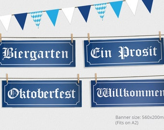 Oktoberfest Party Signs and Bunting - Oktoberfest Sign - Oktoberfest Party - Oktoberfest Decorations - Oktoberfest Printable Design