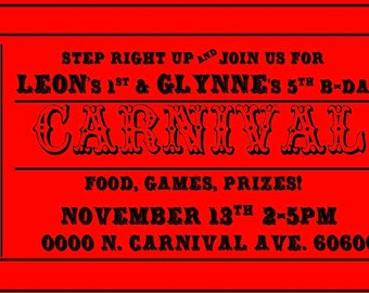 Carnival Ticket invitation ---Digital File