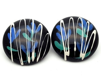 Black Painted Flower Blue and Green with Paint Splatter Medium Stud Earrings Vintage from the 90s