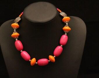 Tangerines with Raspberries Necklace