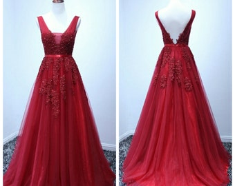 A-line full length tulle  gown