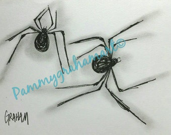 spider drawing-black and white-art-spider art-pen and ink-OOAK-original spider drawing-arachnophobia-arachnophile-arachnophilia
