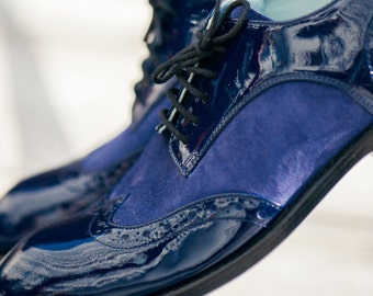 Blue natural letaher women  brogues
