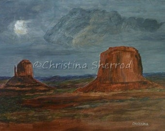 """Blank Greeting Card – """"Peace After The Storm"""" - Monument Valley - From Original Acrylic Painting - 5x7 - Horizontal"""