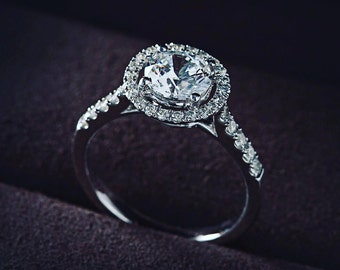 BL044 - 18K White Gold / Rose Gold Halo Engagement Ring, Personalised Diamond Rings, Wedding Rings, Engagement Rings, Free Engraving