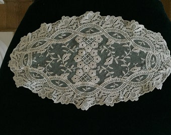 Vintage Made in Germany Cream Oval Shaped Doily